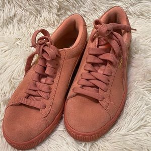 Puma Authentic Blush Pink & Gold Suede Shoes